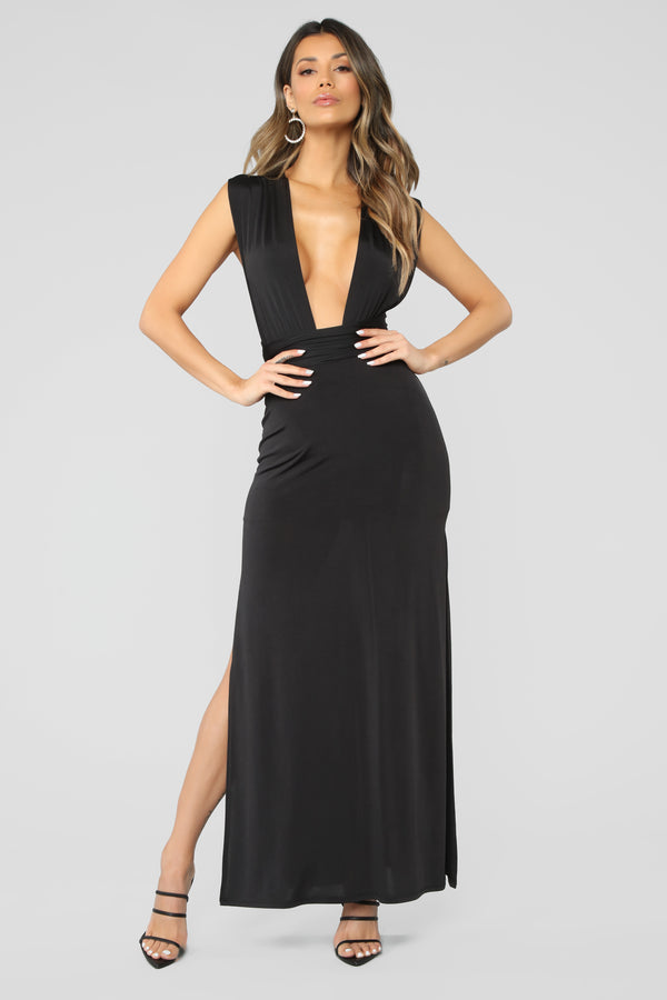 Exaggerated In Style Maxi Dress - Black cf47ed173
