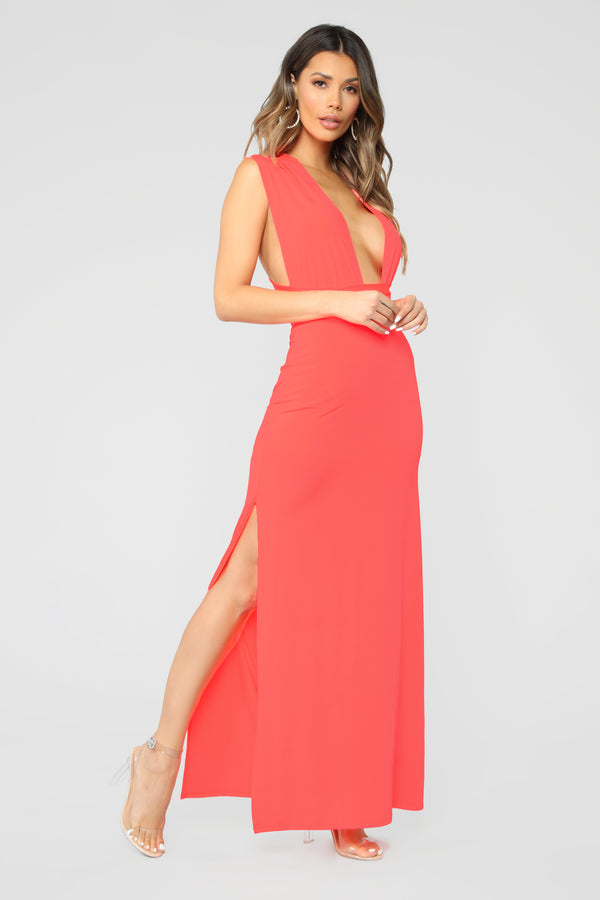 0397b4abf26 Exaggerated In Style Maxi Dress - Neon Coral