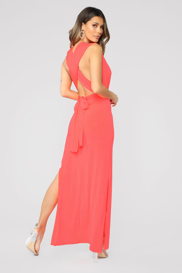 5c5c8000f601 Exaggerated In Style Maxi Dress - Neon Coral