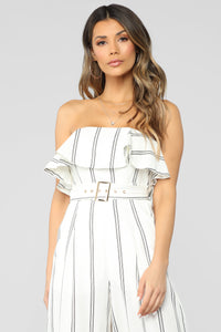 Stripe Down Tube Jumpsuit - White/Black