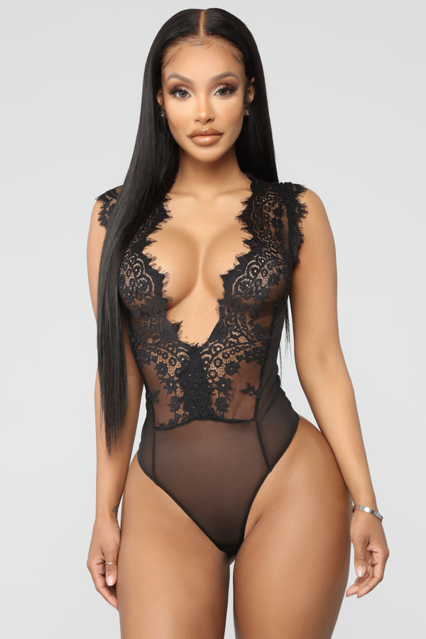 c90e75b0f7 Walking Out On You Lace Teddy Bodysuit - Black