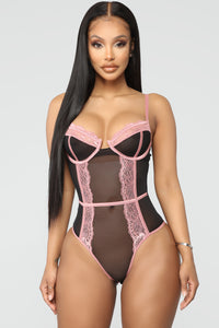 Try Harder Lace Teddy Bodysuit - Black/Rose Angle 1
