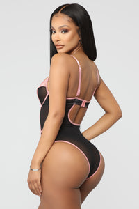 Try Harder Lace Teddy Bodysuit - Black/Rose Angle 3