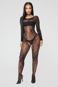 Make A Reservation Fishnet Body Stocking - Black Angle 1