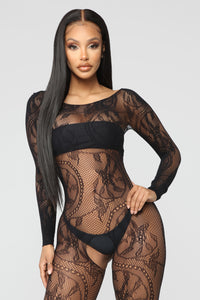 Make A Reservation Fishnet Body Stocking - Black Angle 2