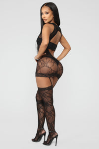 See Me In Dreams Lace Bodystocking - Black