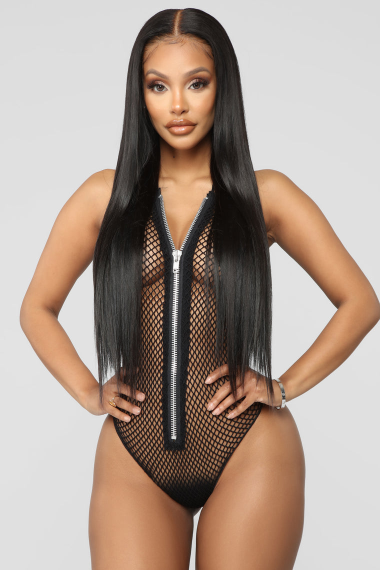 Never Cheat Zip Front Fishnet Teddy - Black