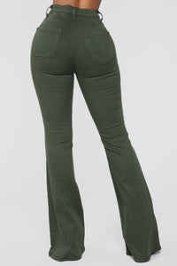 Bell Bottom Blues Jeans - Olive