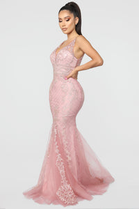 An Evening Out Embellished Gown - Rose