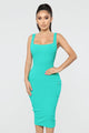 Out Of My Control Midi Dress - Kelly Green
