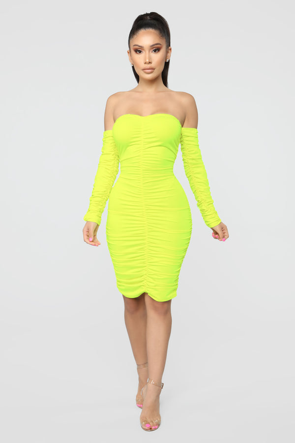 f329f223f31 Whatever You Want Ruched Midi Dress - Neon Yellow