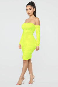 Whatever You Want Ruched Midi Dress - Neon Yellow