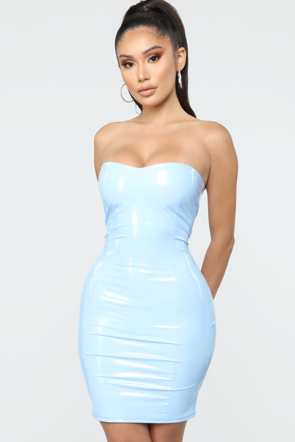 1ca0dfcb7cc Poster Girl Latex Mini Dress - Light Blue