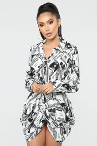 All About The Dollaz Mini Dress - White/Black