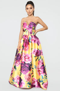 Prettier Than The Bouquet Floral Maxi Dress - Yellow/Combo