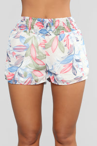 Miss My Love High Rise Printed Short - White