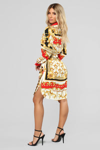 Afford Nice Things Shirt Dress - Red/Combo