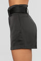 Alana Satin Belted Shorts - Black