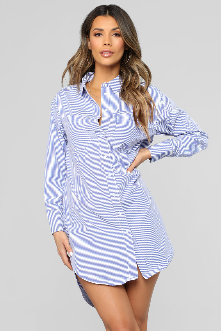 All In The Past Shirt Dress - Blue/White