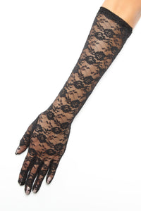 Sweet Touch Of Lace Gloves - Black