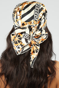 What's Your Status Head Scarf - Black/White