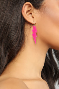 Light And Thunder Earrings - Pink