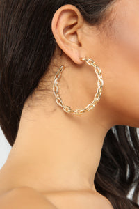 Chain OF Fools Hoop Earrings - Gold