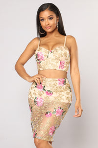 Can't Stop Desire Embroidered Set - Gold