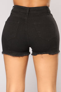 Kristina Distressed Denim Shorts - Black