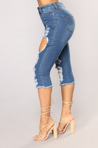 Olivia Distressed Bermuda Shorts - Medium Wash