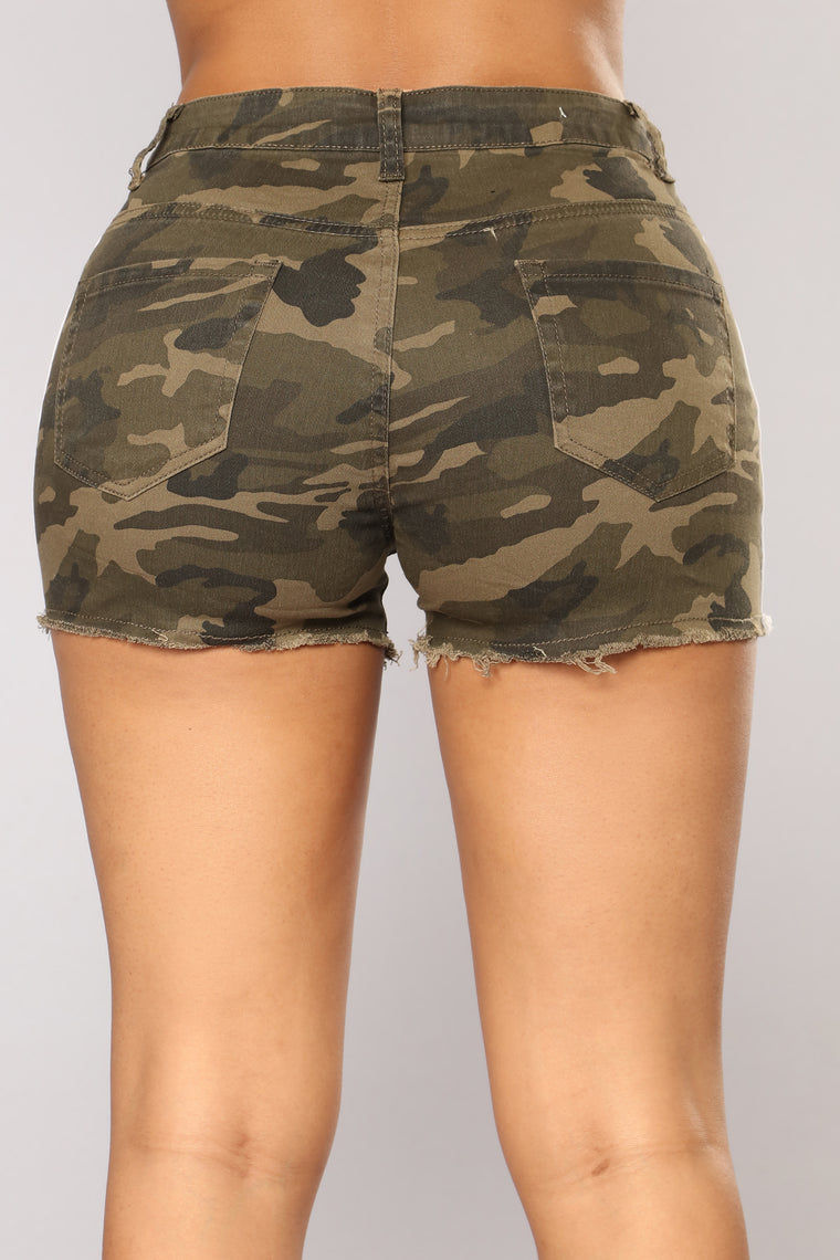 Have Mercy Striped Shorts - Olive