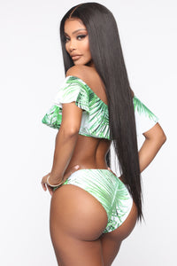 Aloha Babe Off Shoulder 2 Piece Lace Up Bikini - Green/combo Angle 2