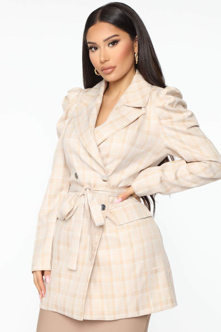 Chic To Meet You Plaid Blazer - Beige