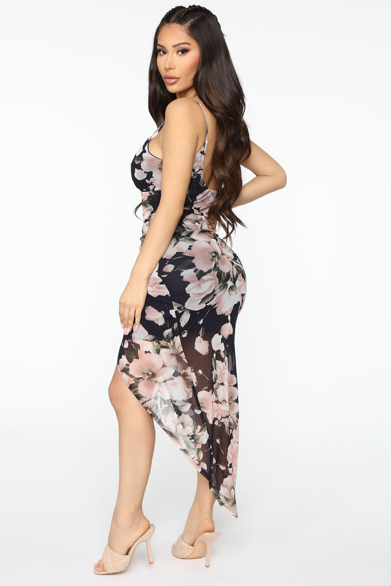 Feel Me Floral Mesh Maxi Dress - Navy/combo