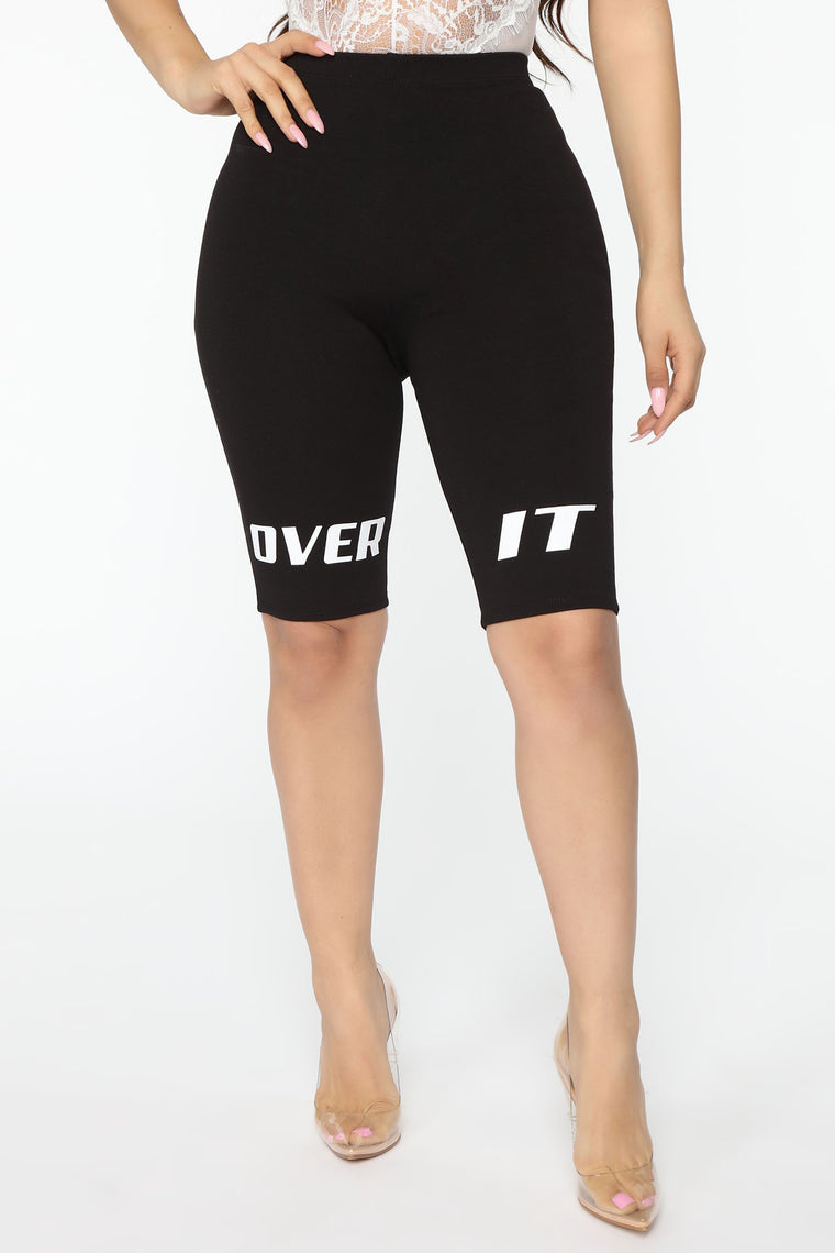Whatever I'm Over It Biker Short - Black/White