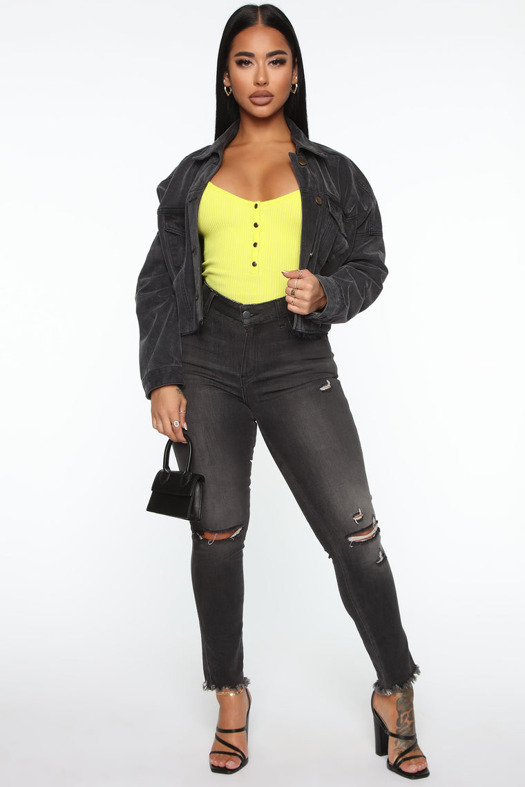 Casually Strolling Through Henley Bodysuit - Neon Yellow