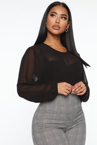 Layers To This Round Neck Bodysuit - Black Angle 2