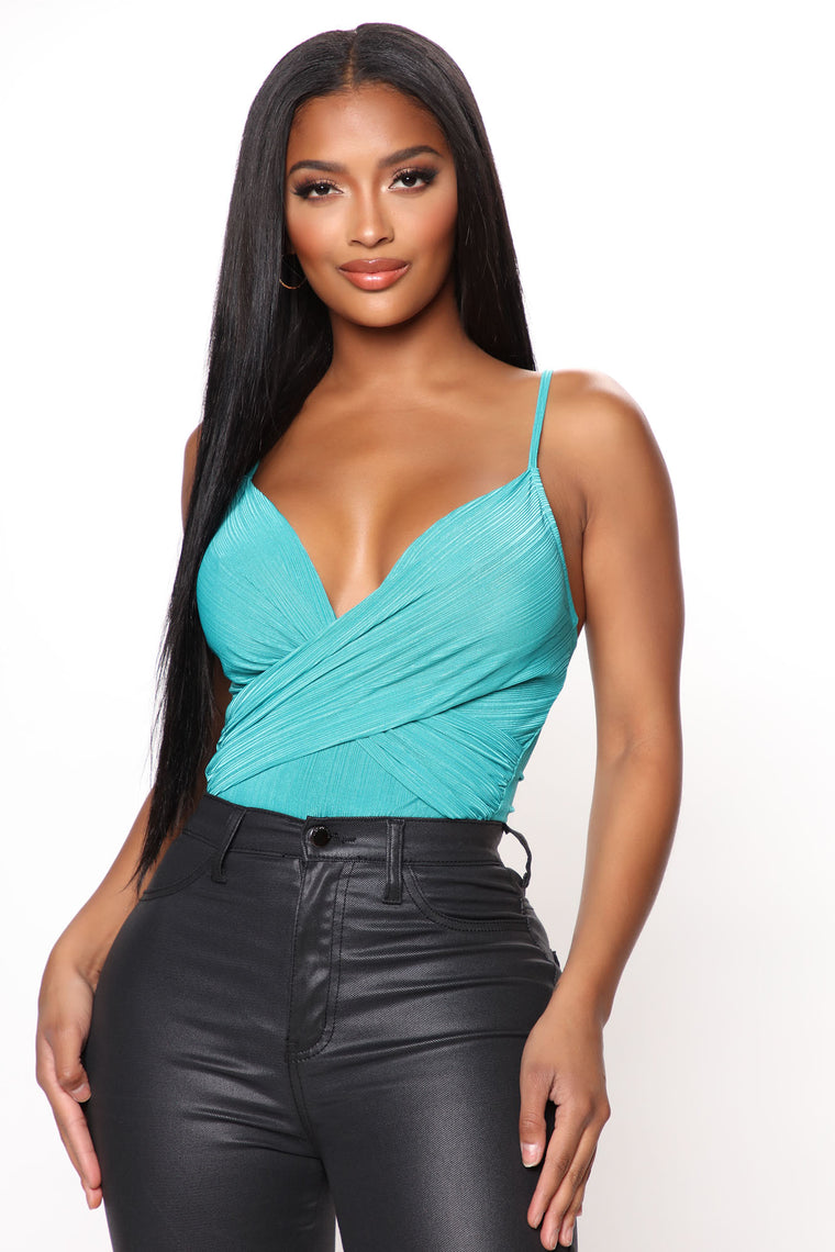 It Must V Surplice Bodysuit - Jade
