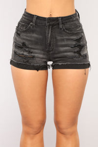 Cuff It Up Denim Shorts - Black