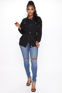 Rebound Affair Tie Waist Jacket - Black Angle 2