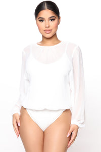 Layers To This Round Neck Bodysuit - White Angle 1