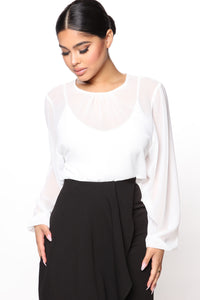 Layers To This Round Neck Bodysuit - White Angle 3