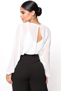 Layers To This Round Neck Bodysuit - White Angle 4