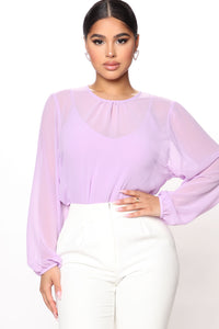 Layers To This Round Neck Bodysuit - Lavender Angle 3