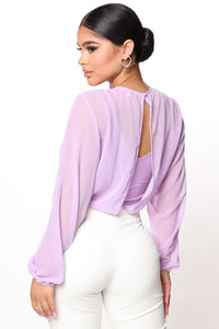 Layers To This Round Neck Bodysuit - Lavender Angle 4