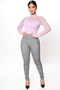 After Six Mesh Bodysuit - Lavender Angle 2