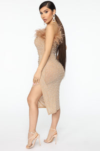 Share Your Location Feather Midi Dress - Nude Angle 4