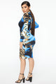 Wild Lover Ruched Midi Dress - Blue/combo