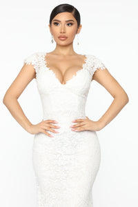 The Big Day Lace Maxi Gown - White Angle 2