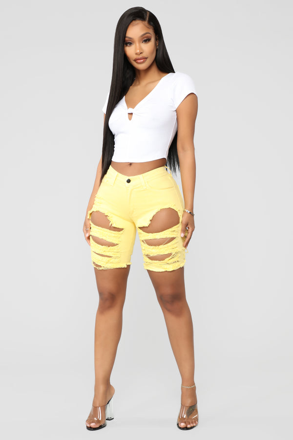 dbf1d1e8a7 Down And Distressed Bermuda Shorts - Yellow
